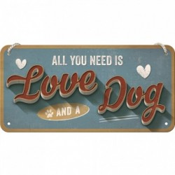 Placa metalica cu snur - Love Dog - 10x20 cm