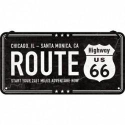 Placa metalica cu snur - Route 66 - 10x20 cm