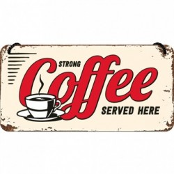 Placa metalica cu snur - Strong Coffee - 10x20 cm