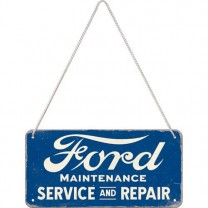Placa metalica cu snur Ford - Service & Repair 10x20cm