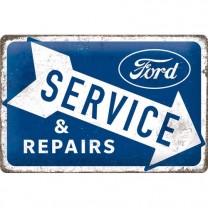 Placa metalica Ford - Service & Repairs 20x30 cm