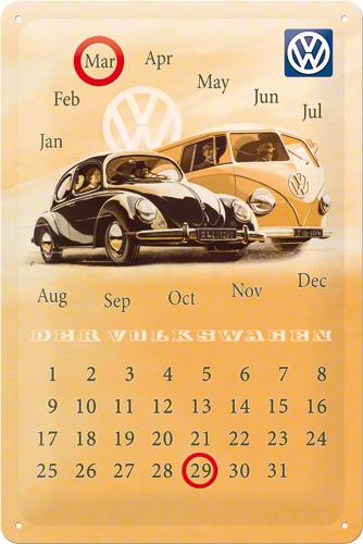Met Art Calendar : Calendar metalic volkswagen kafer bus cm